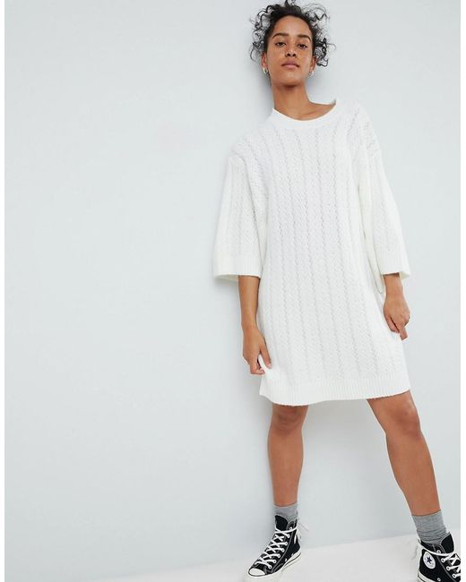 ASOS - White Chunky Cable Knitted Dress With Wide Crop Sleeves - Lyst