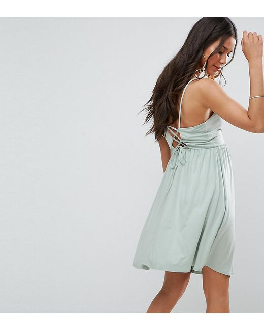 ASOS | Green Lace Up Back 90s Skater Dress | Lyst