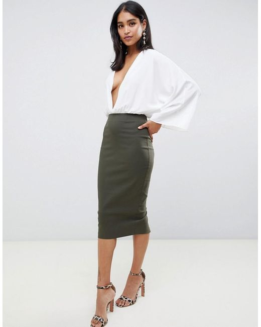 3a8d8299c Lyst - Falda de tubo larga con cintura alta de ASOS de color Verde