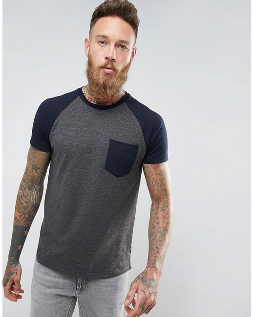 French Connection - Gray Raglan T-shirt With Pocket for Men - Lyst