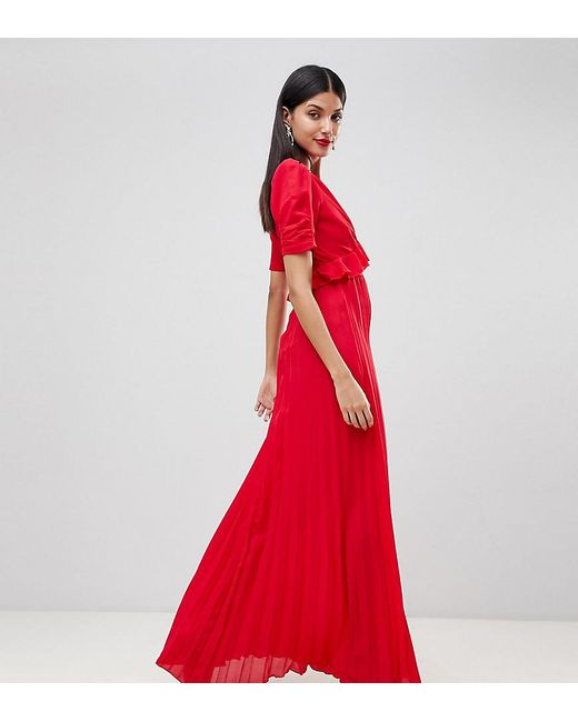 0259edcf0d2 ASOS - Red Pleated Maxi Tea Dress - Lyst ...