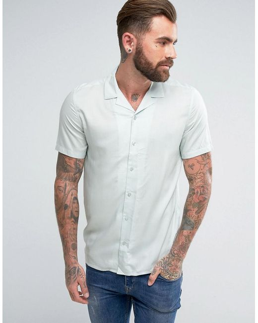 ASOS | Green Regular Fit Viscose Shirt With Revere Collar In Mint for Men | Lyst