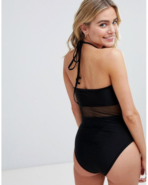 5e56b2a44d10b ... UNIQUE21 - Black Mesh Swimsuit With Embrodered Detail - Lyst
