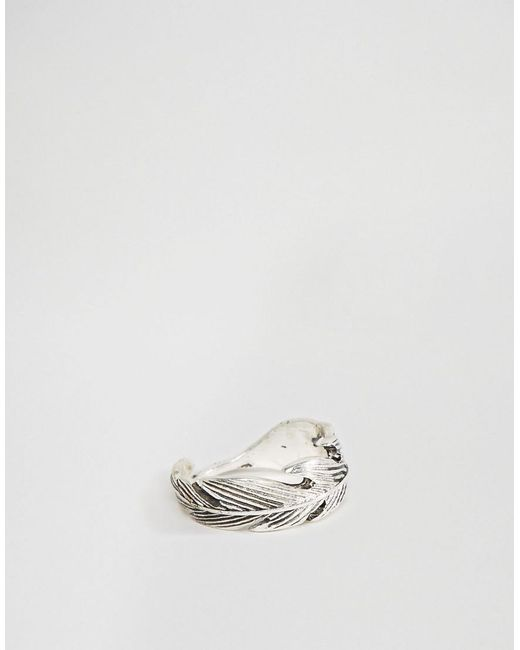 Icon Brand | Metallic Feather Ring In Silver for Men | Lyst