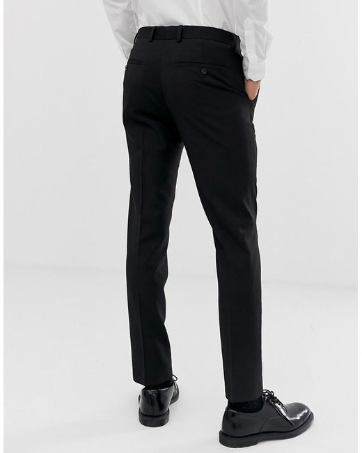 f61e08e02 ... Moss Bros - Moss London Slim Fit Suit Pant In Black With Stretch for  Men -