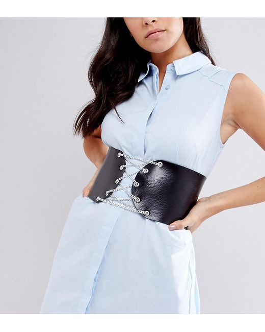 Exclusive Lace Up Corset Belt in Leather - Black Retro Luxe London wgGNnru3Ze