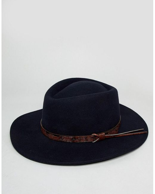 2cb2bf1d5d0 ... ASOS - Blue Pork Pie Hat With Wide Brim In Navy With Tan Embossed Band  Detail