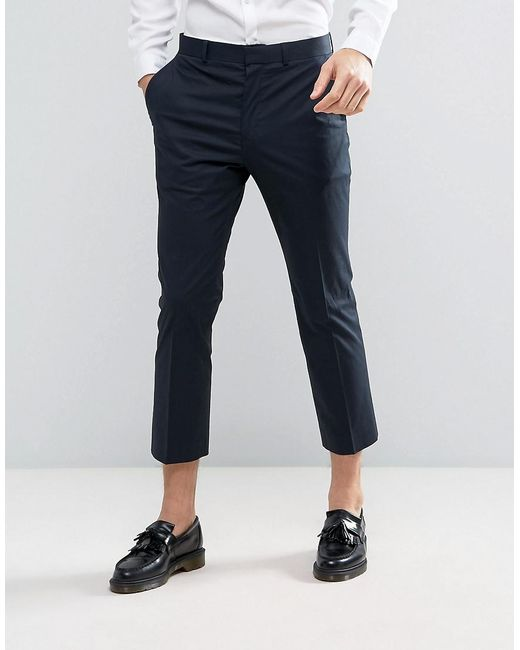Asos Skinny Crop Suit Trousers In Navy Poplin in Blue for Men | Lyst