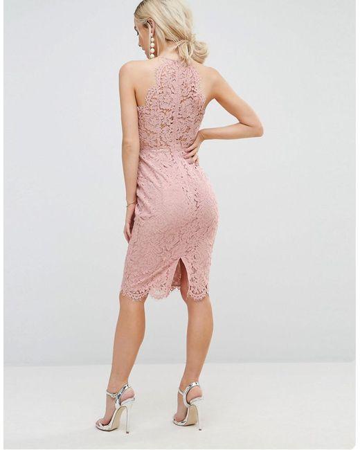 8978482239 ... ASOS - Natural Scallop Pinny Lace Pencil Midi Dress - Lyst