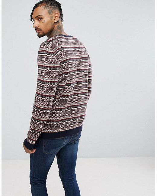 Lyst - Asos Cotton Fairisle Jumper In Red in Red for Men