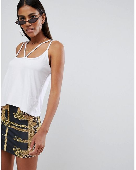 Missguided - White Harness Strap Vest Top - Lyst