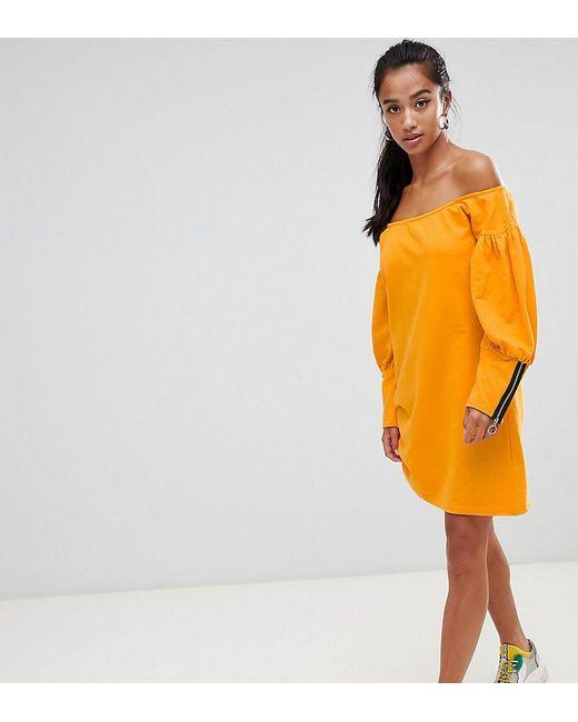 fb7df79f7f6 ASOS - Yellow Asos Design Petite Off Shoulder Sweat Dress With Zip Detail -  Lyst ...