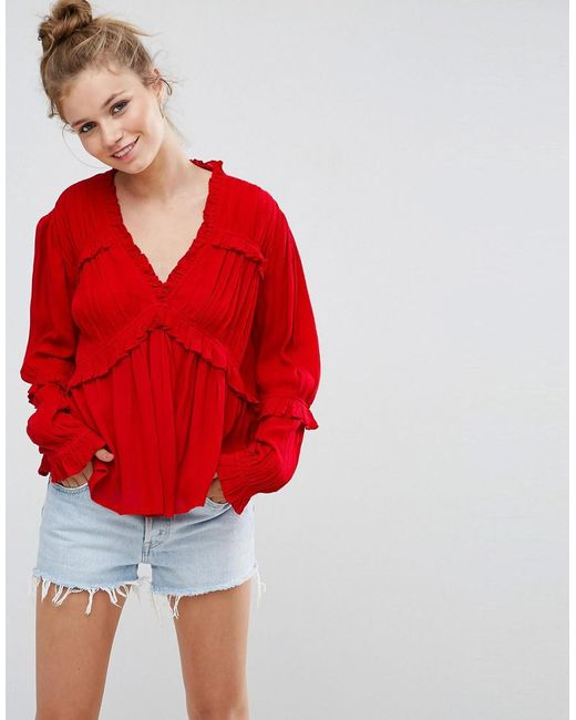 ASOS | Red Casual Blouse In Crinkle | Lyst