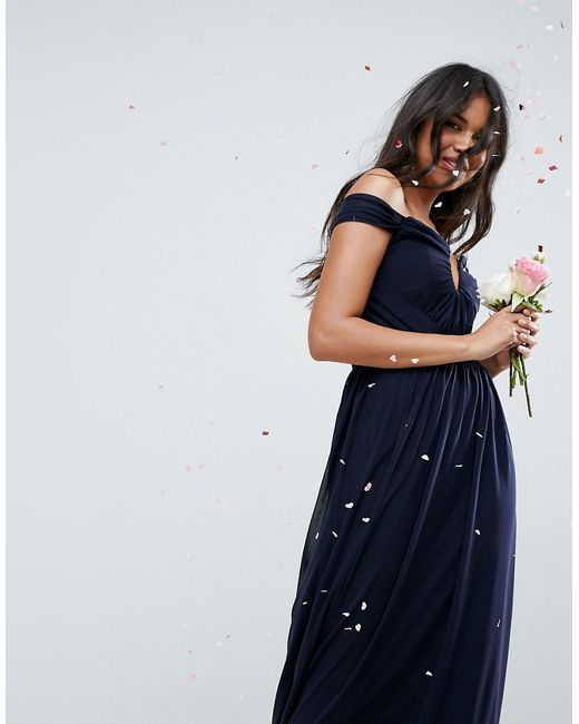 ASOS - Blue Design Bridesmaid Ruched Mesh Bardot Maxi Dress - Lyst