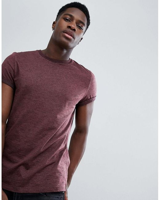 f4cf9599 ASOS - T-shirt In Twisted Jersey Textured Fabric With Roll Sleeve In Brown  for ...
