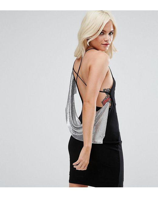 Chainmail Asymmetric Back Mini Dress - Black Asos YkQU9p5