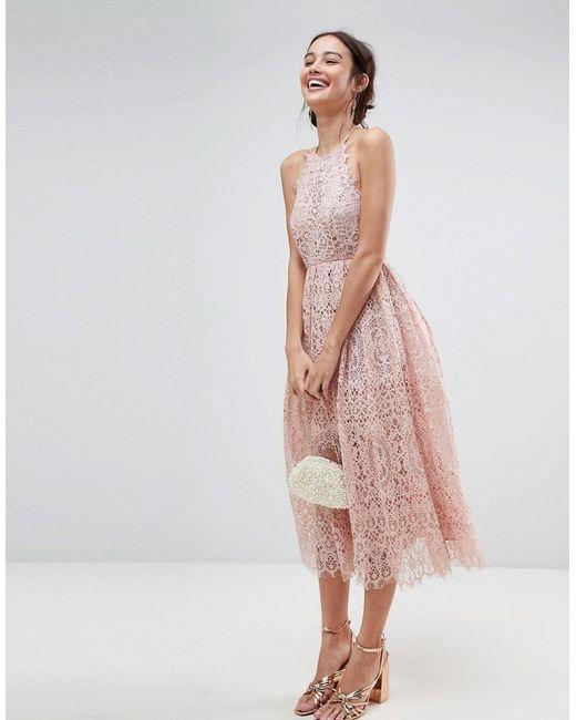 ASOS - Pink Asos Lace Pinny Scallop Edge Midi Prom Dress - Lyst