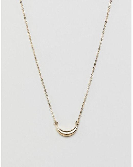 Pieces - Metallic Mini Horn Necklace - Lyst