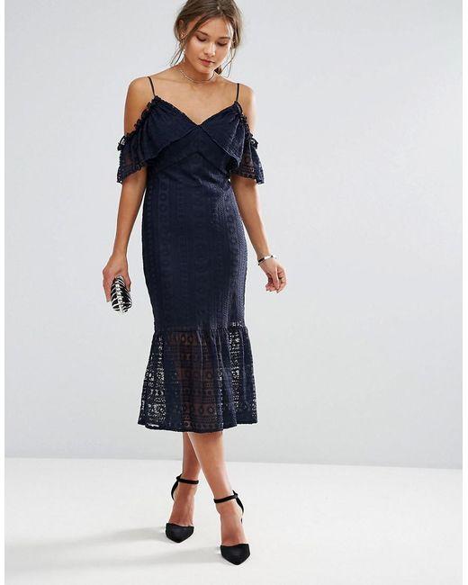 Liquorish - Blue Cold Shoulder Lace Midi Dress - Lyst