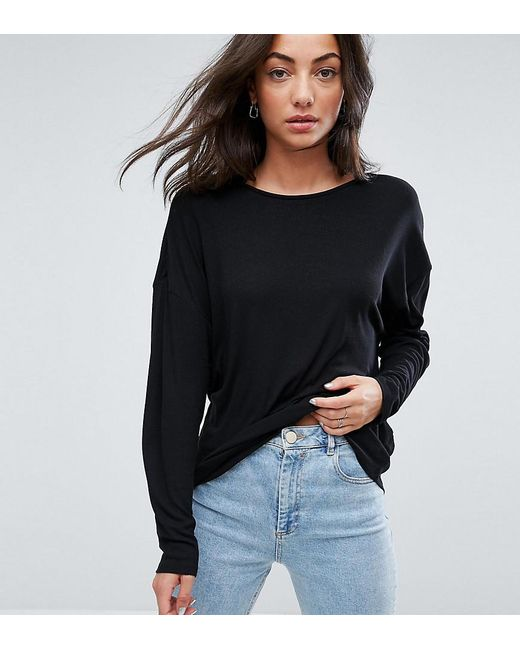 ASOS - Black Oversized T-shirt With Batwing Detail - Lyst
