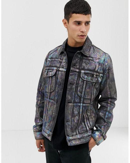 ASOS Blue Denim Jacket With Multi Coloured Foil Print for men