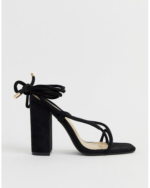 c5f5a4002 Public Desire - Betty Black Ankle Tie Toe Loop Heeled Sandals - Lyst ...