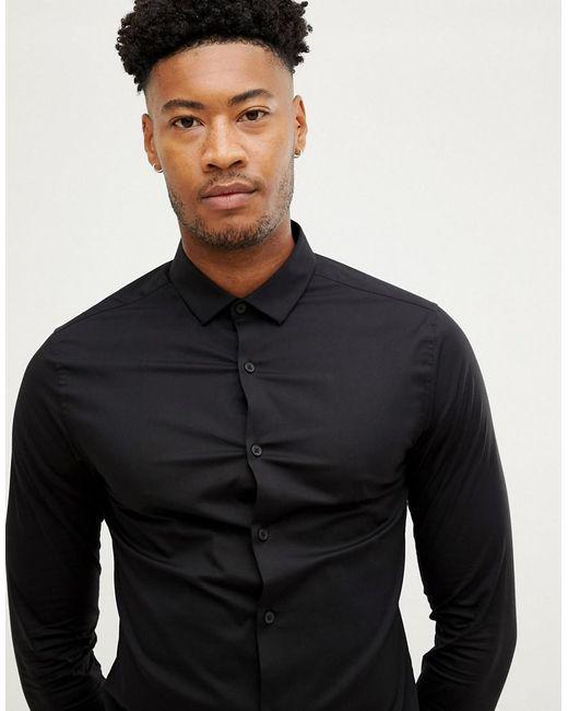 28550b38a ... ASOS DESIGN - Tall Skinny Shirt In Black for Men - Lyst ...