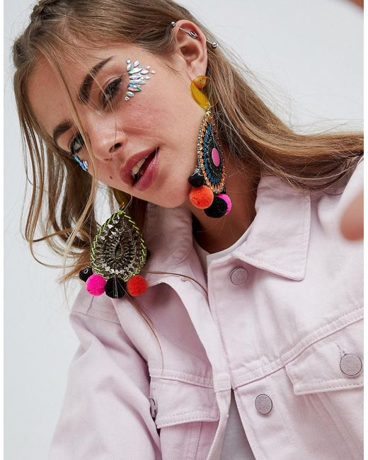 ASOS DESIGN - Multicolor Resin And Jewel Cut Out Disc Pom Earrings - Lyst