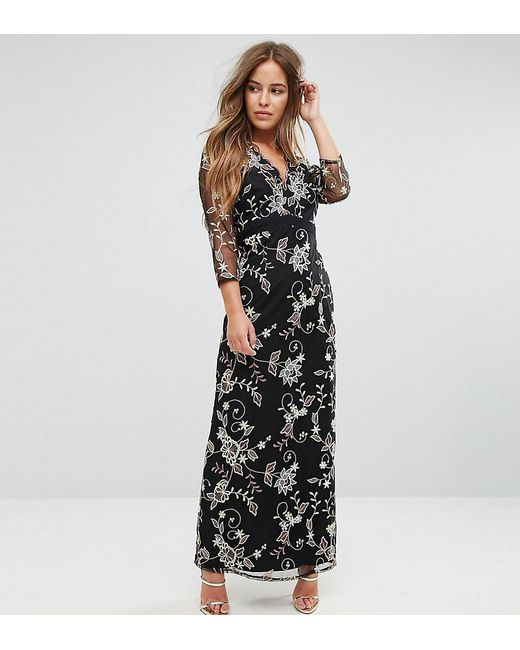 Little Mistress - Black All Over Floral Embroidered Maxi Dress - Lyst ...