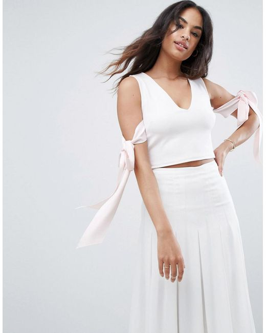 ASOS - Pink Asos Top In Scuba With Plunge Neck And Bow Detail - Lyst