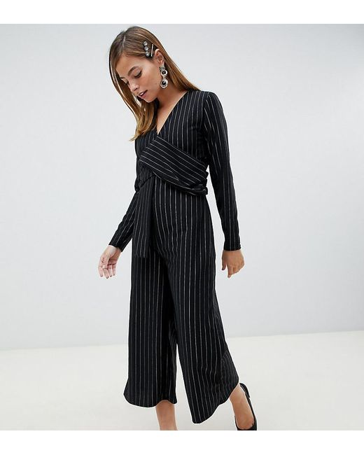 39118a4b67 Lost Ink - Black Jumpsuit With Twist Front In Pinstripe - Lyst ...