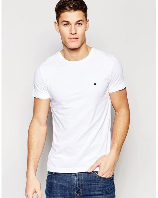 lyst tommy hilfiger t shirt with flag logo in stretch slim fit in white in white for men. Black Bedroom Furniture Sets. Home Design Ideas