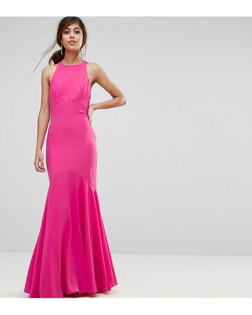 aef21c59bd2 Jarlo - Pink Fishtail Maxi Dress With Open Bow Back - Lyst ...