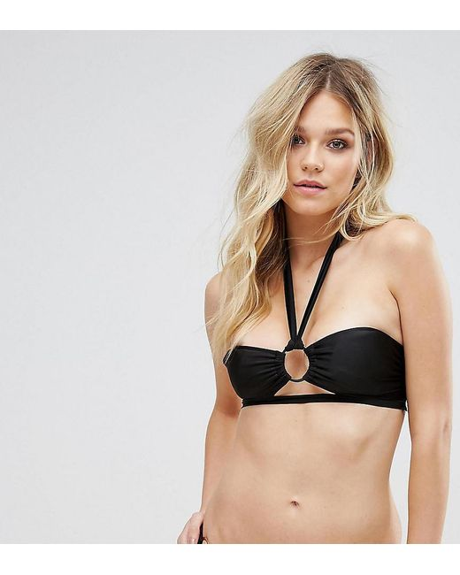 Wolf & Whistle - Black Ring Detail Bikini Top B-f Cup - Lyst