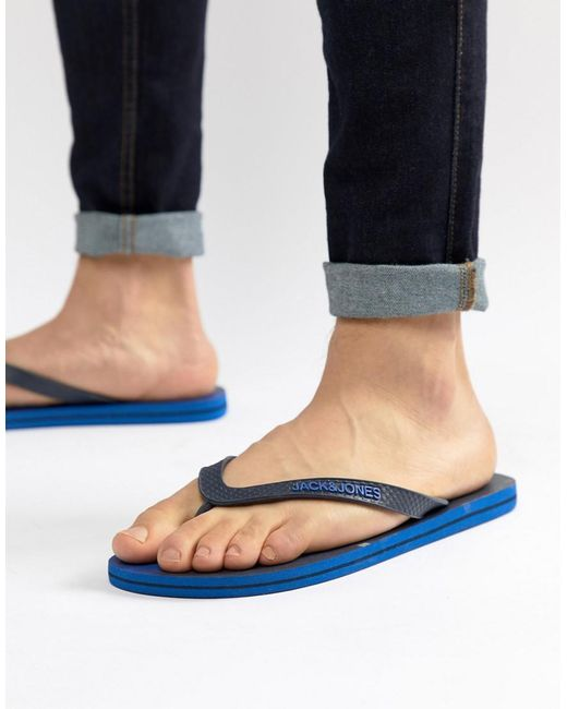 daede4856378 ... Jack   Jones - Blue Flip Flops for Men - Lyst