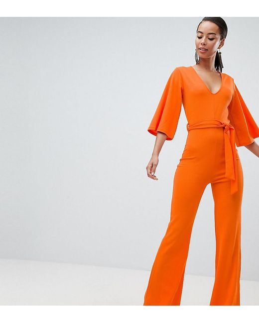 6e29973e4ed5 Missguided - Orange Belted Jumpsuit - Lyst ...