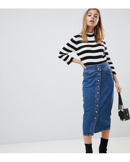 79bf46e2f119 ASOS - Asos Design Petite Denim Midi Skirt With Poppers In Midwash Blue -  Lyst ...