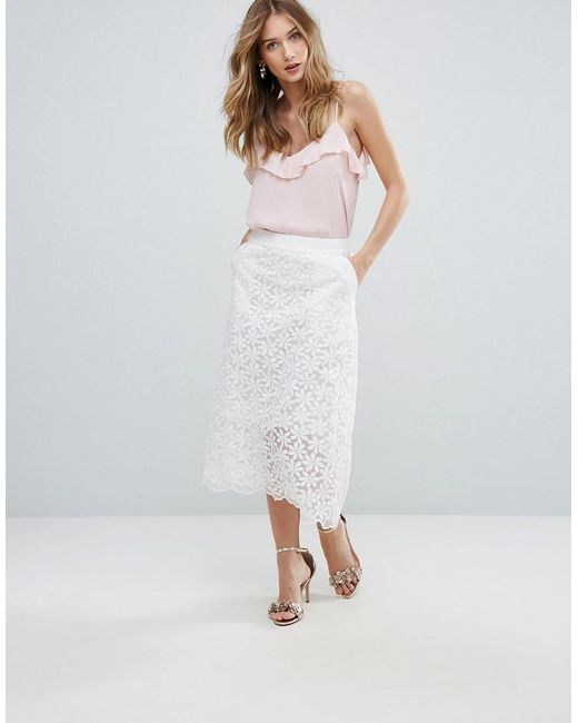 2a05a0d03 Traffic People - White Lace Midi Skirt - Lyst ...