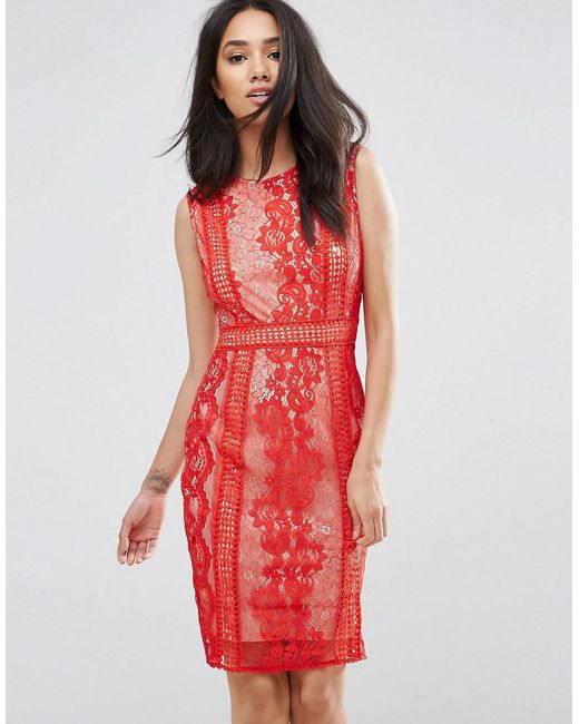 f7673081104 AX Paris Red Lace Bodycon Dress in Red - Lyst