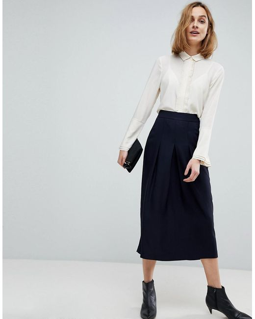 ASOS - Blue Tailored Clean Column Skirt With Pleats - Lyst