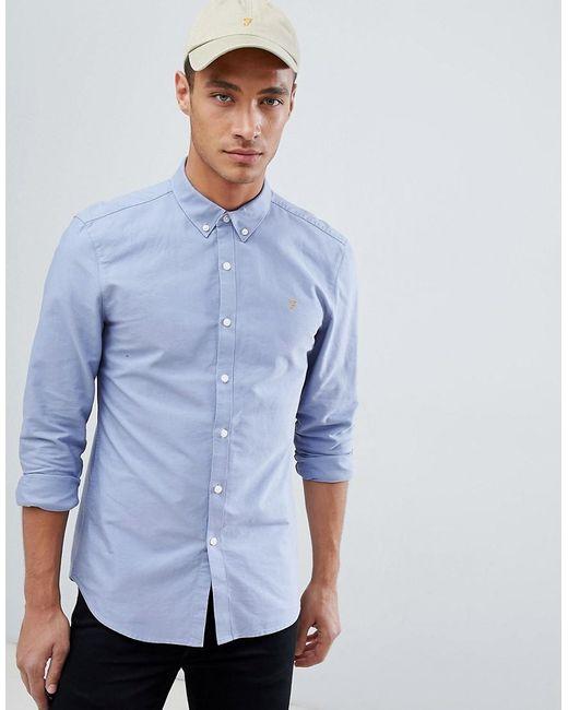 0838948f73f Farah Brewer Slim Fit Oxford Shirt In Blue in Blue for Men - Lyst