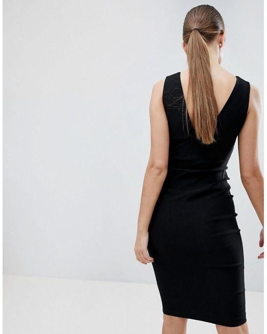 Zip Through Midi Pencil Dress With Ring Detail - Black Vesper 2XxuIcQuuB