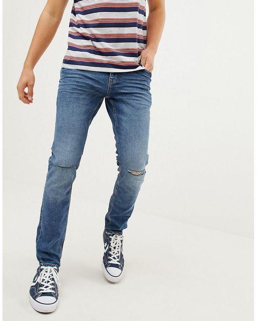 anerkannte Marken Wert für Geld bekannte Marke Men's Stretch Skinny Fit Jeans In Vintage Wash Blue With Knee Rips
