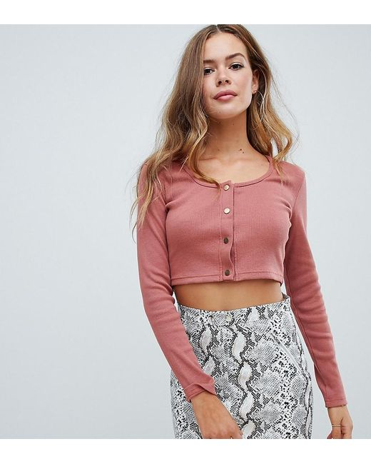 723e9982c898bf Missguided - Green Exclusive Ribbed Popper Detail Crop Top In Pink - Lyst  ...