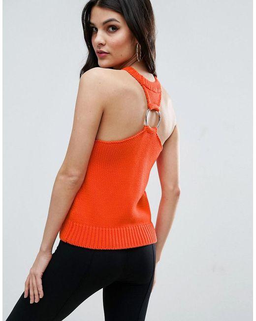 ASOS | Orange Knit Top With Racer Back Ring Detail | Lyst