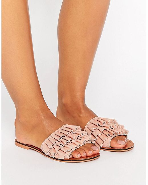 ASOS | Pink Fion Suede Ruffle Sliders | Lyst