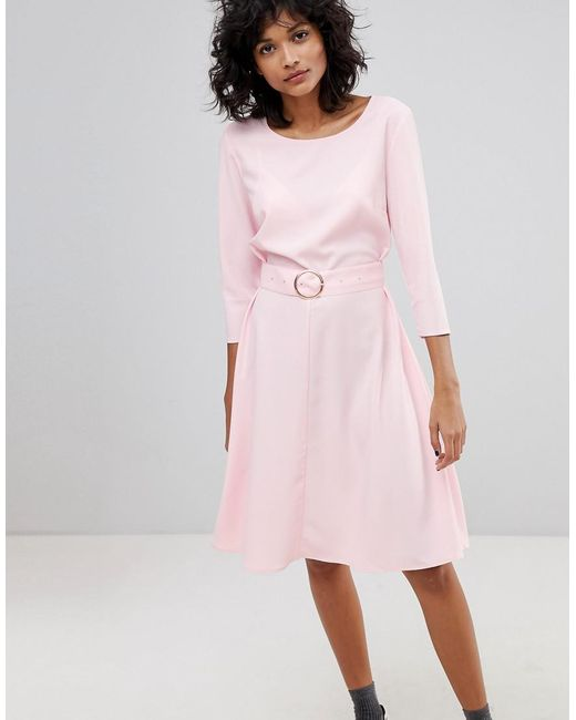 2nd Day - Pink Ring Belted Midi Dress - Lyst