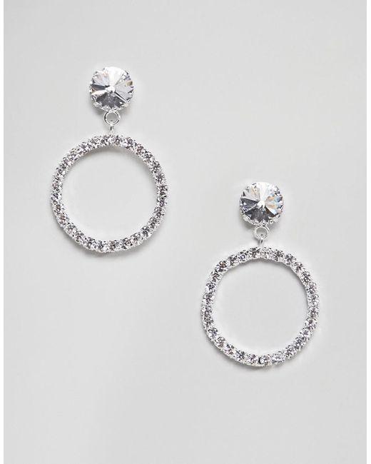 Krystal London - Metallic Swarovski Crystal Circle Drop Hoop Earrings - Lyst