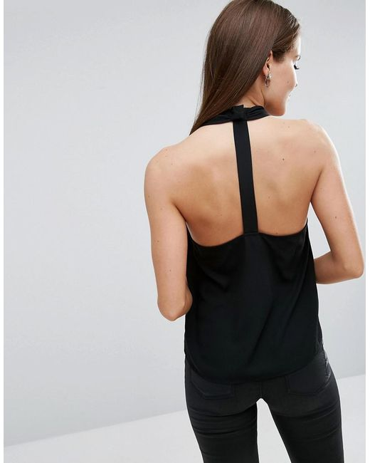 ASOS   Black Wrap Halter Top With Back Detail   Lyst
