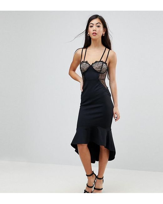 ASOS - Black Lace Cupped Pephem Strappy Bodycon Dress - Lyst ... b96025d9b